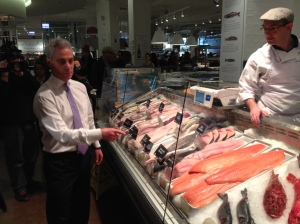Rahm Emanuel Eating at Eataly